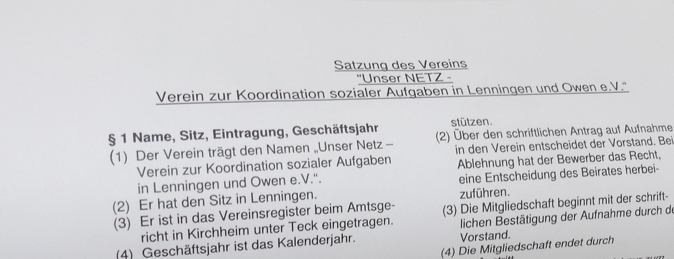 Satzung Unser NETZ
